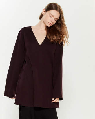 Hannes Roether Extrafine Merino Wool Plunging V-Neck Sweater Dress