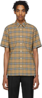 Burberry Beige Check George Short Sleeve Shirt