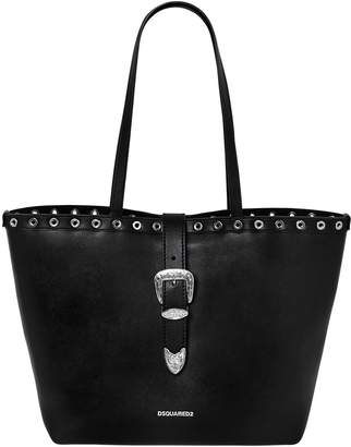 DSQUARED2 Faux Leather Tote Bag W/ Buckle