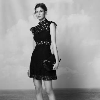 Sandro Lace insert dress with high neck