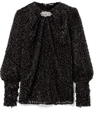 Dodo Bar Or - Crystal-embellished Flocked Chiffon Blouse - Black
