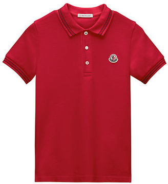 Moncler Tipped Jersey Polo Shirt, Size 8-14 $115 thestylecure.com