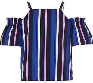 River Island Girls Blue stripe cold shoulder top