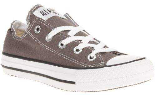 New Boys Grey All Star Ox Canvas Trainers Lace Up