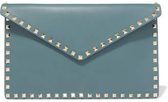 Valentino Garavani The Rockstud Large Leather Pouch - Teal