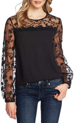 CeCe Floral Embroidery Mixed Media Top