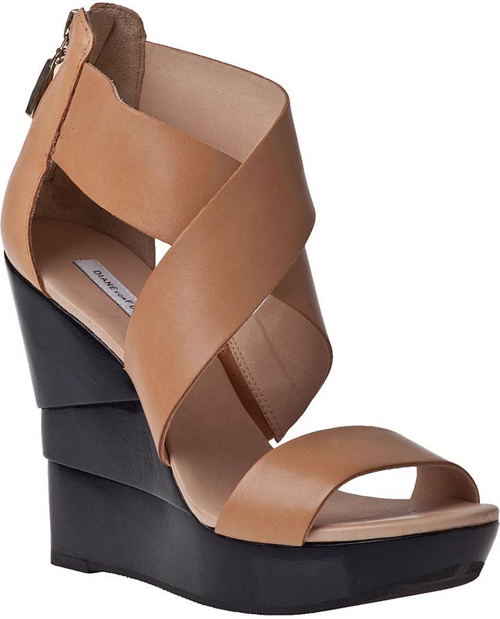 Diane von Furstenberg Opal Wedge Sandal Natural Leather