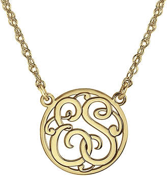 FINE JEWELRY Personalized 15mm Round Cutout Monogram Necklace