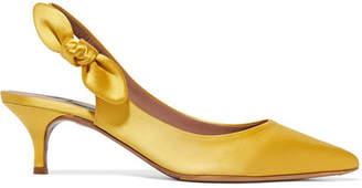 Tabitha Simmons Rise Bow-embellished Satin Slingback Pumps - Marigold
