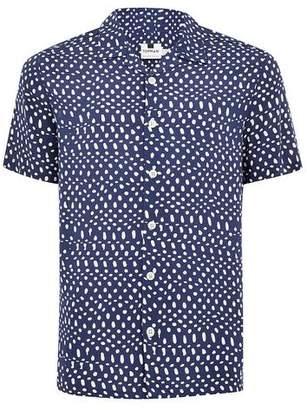 Topman Mens Blue Polka Dot Shirt