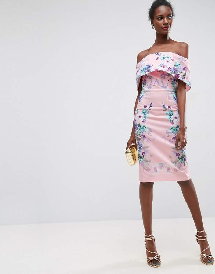 AsosASOS Trailing Placed Floral Deep Fold Bardot Midi Dress