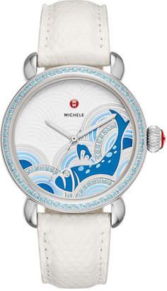 Michele 36mm Seaside Topaz Bluefish Dial Watch Head