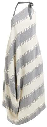 Vivienne Westwood Asymmetric Striped Cotton Blend Halterneck Dress - Womens - Blue Multi