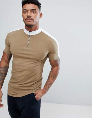 Asos DESIGN muscle fit turtleneck t-shirt with zip and contrast panels in brown