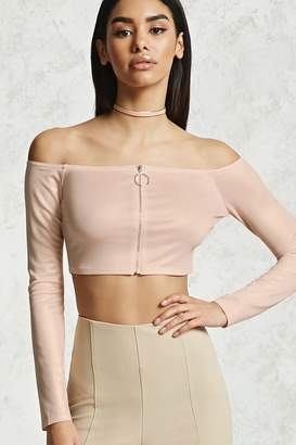 Forever 21 Shimmery Zip-Front Crop Top