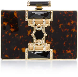 """Judith Leiber Couture Ridget Rectangle Resin"""" Crystal and Brass Clutch"""