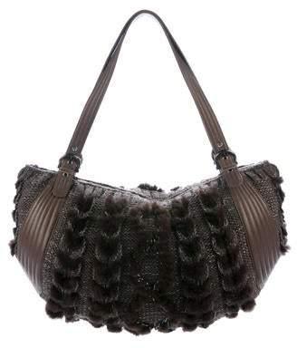Salvatore Ferragamo Mink-Trimmed Knit Shoulder Bag