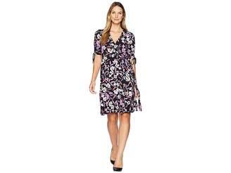 Donna Morgan Short Gathered Sleeve Wrap Dress