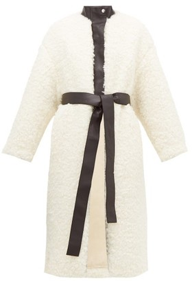 Acne Studios Orala Leather Trimmed Faux Fur Coat - Womens - Ivory
