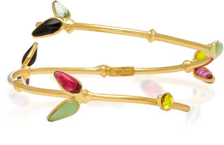 Gripoix Bamboo Adjustable 24K Gold-Plated Brass and Poured Glass Bangle Bracelet