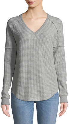 Lilla P Raglan-Sleeve V-Neck Thermal Tee