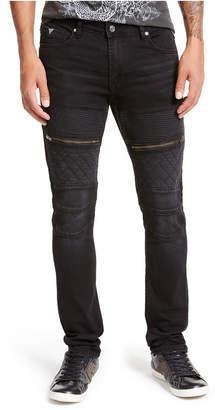 GUESS Men Black Coated Moto Skinny Jeans