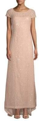 Calvin Klein Sequin Cap-Sleeve Gown