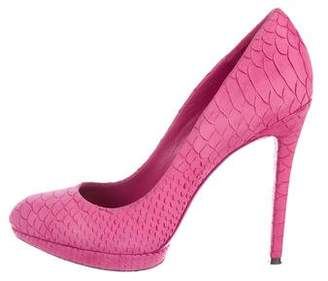 Brian Atwood Embossed Sued Platform Pumps