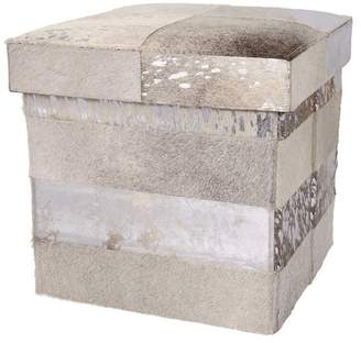 Nourison Mina Victory Natural Leather Mix Stripes Cube, 17x17