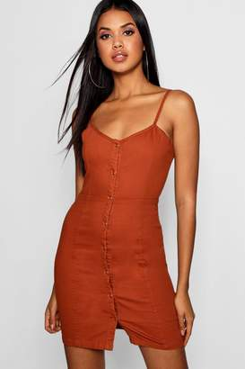 boohoo Brick Strappy Popper Front Denim Dress