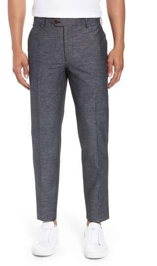 Flat Front Solid Stretch Cotton & Linen Pants