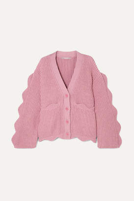 Stella McCartney Scalloped Ribbed Cotton And Wool-blend Cardigan - Pink