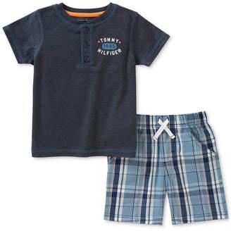Tommy Hilfiger 2-Pc. Graphic-Print T-Shirt & Plaid Shorts Set, Baby Boys