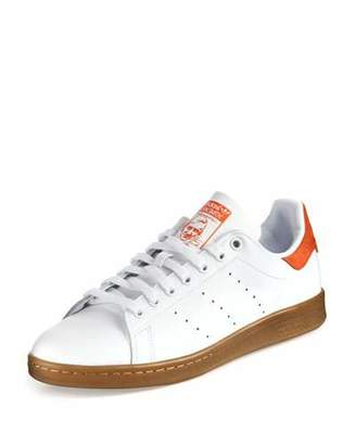Adidas Men's Stan Smith Perforated Leather Sneaker, White/Orange $85 thestylecure.com