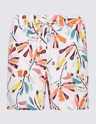 Marks and Spencer Linen Rich Printed Casual Shorts