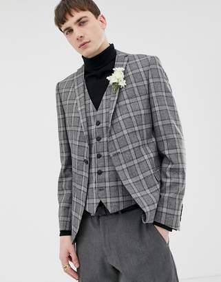 Selected Slim Suit Jacket In Salt n Pepper Check