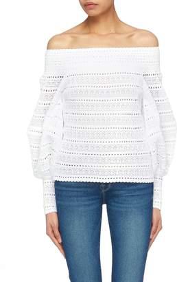 Oscar de la Renta Blouson sleeve off-shoulder knit top