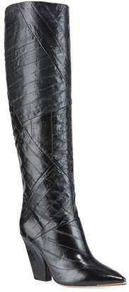 Tory Burch Lila Eel-Leather Knee Boots