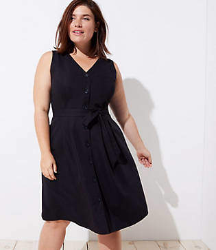 LOFT Plus Button Down Pocket Flare Dress