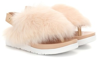UGG Holly fur slingback sandals