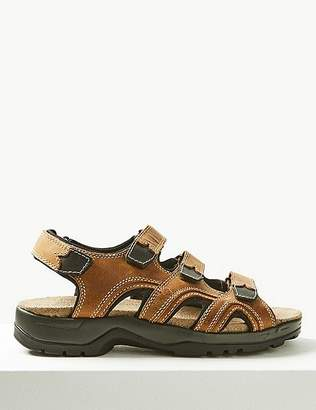 Marks and Spencer Leather 3 Strap Riptape Sandals
