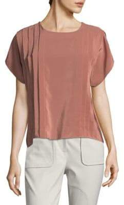 Pleated Silk Drape Top