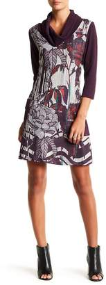 Papillon Exaggerated Turtleneck 3/4 Length Sleeve Sweater Dress