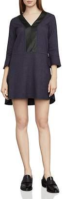BCBGMAXAZRIA Shirlee Faux-Leather Trim Dress