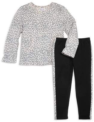 Splendid Girls' Leopard-Printed Top & Side-Stripe Leggings, Little Kid - 100% Exclusive