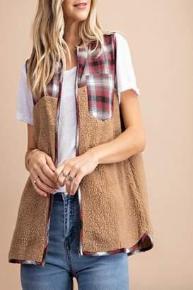 Kori America Fluffy-Fur Plaid Vest