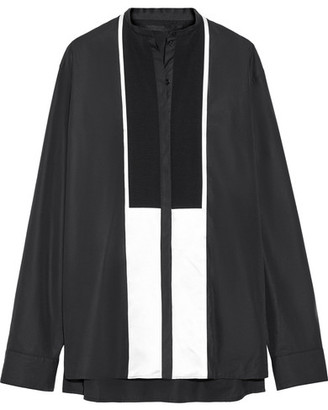 Haider Ackermann - Oversized Satin-paneled Cotton-poplin Shirt - Black $1,075 thestylecure.com