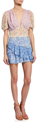 LoveShackFancy Bea Colorblock Floral Silk Short Dress
