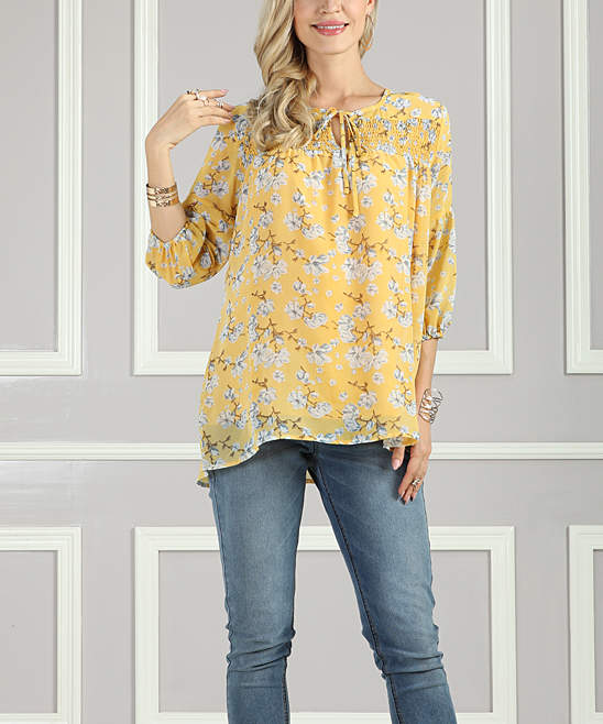 Yellow Floral Smocked Peasant Tunic - Women