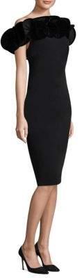Alberto Makali Velvet Ruffle Off-The-Shoulder Dress
